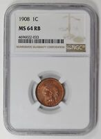 SMALL CENTS INDIAN HEAD 1908 P NGC MINT STATE 64 RB