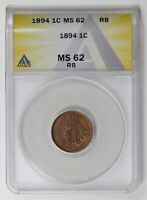 SMALL CENTS INDIAN HEAD 1894  ANACS MINT STATE 62