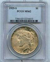 1925-S S$1 PEACE SILVER DOLLAR PCGS MINT STATE 62