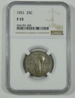 1921 STANDING LIBERTY QUARTER CERTIFIED NGC F 15 SILVER 25C
