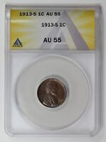 SMALL CENTS LINCOLN, WHEAT EARS REVERSE 1913 S ANACS AU-55