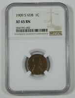 1909-S VDB LINCOLN/WHEAT EARS REVERSE CENT CERTIFIED NGC EXTRA FINE  45 BROWN 1C