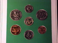 GUERNSEY 7 COIN UNCIRCULATED MINT SET 1987 NICE IN FOLDER