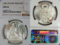 1891/8 TF/BF PERU SOL NGC MS64 OVER DATE & OVER MINT MARK