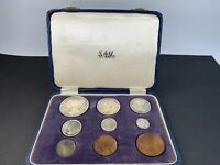 SOUTH AFRICA 1955 9 SILVER COIN PROOF SET ORIGINAL BOX MIXED CONDITIONS