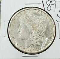1897 S MORGAN SILVER DOLLAR COIN VF / EXTRA FINE  DETAILS CLEANED  LOOKING COIN