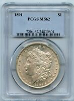1891 $1 MORGAN SILVER DOLLAR COIN PCGS MINT STATE 62