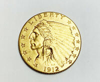 1912 $2.5 INDIAN HEAD QUARTER EAGLE GOLD COIN