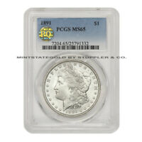 1891 $1 MORGAN PCGS MINT STATE 65 PQ APPROVED GEM GRADED PHILADELPHIA SILVER DOLLAR COIN