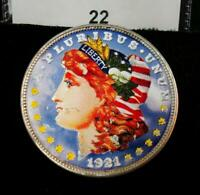 DOUBLE-SIDED COLORIZED / PAINTED 1921 D MORGAN SILVER DOLLAR 22