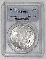 MORGAN SILVER DOLLAR 1897 S PCGS MINT STATE 63