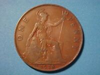 GREAT BRITAIN LARGE PENNY 1918 KN VF DETAIL GEORGE V KEY DAT