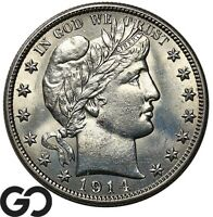 1914 BARBER HALF DOLLAR HARD TO FIND THIS NICE BRILLIANT UNCIRCULATED KEY DATE