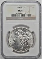 1890 S MORGAN DOLLAR S$1 NGC MINT STATE 65