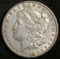 1889-S MORGAN SILVER DOLLAR.  NATURAL UNCLEANED.  AU.  159456
