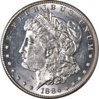1886-S MORGAN SILVER DOLLAR PCGS MINT STATE 63  EYE APPEAL STRONG STRIKE