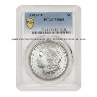 1883-CC $1 SILVER MORGAN PCGS MINT STATE 63 CHOICE GRADED CARSON CITY MINTED DOLLAR COIN