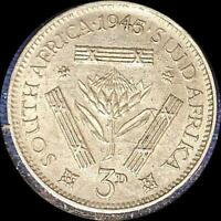 SOUTH AFRICA 1945 POSSIBLE OVER DATE 3 PENCE OLD WORLD SILVER COIN HIGH GRADE