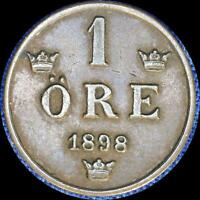 SWEDEN 1898 1 ORE OLD WORLD COIN