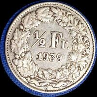 SWITZERLAND 1939  1/2 FRANC OLD WORLD SILVER COIN