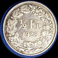 SWITZERLAND 1928 1/2 FRANC OLD WORLD SILVER COIN