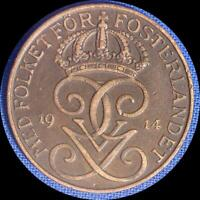 SWEDEN 1914 5 ORE OLD WORLD COIN