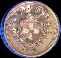SWITZERLAND 1934 1 RAPPEN OLD WORLD COIN STAINED