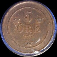 SWEDEN 1874 5 ORE OLD WORLD COIN