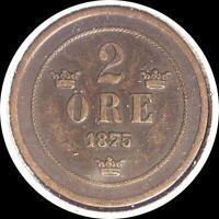 SWEDEN 1875 2 ORE OLD WORLD COIN
