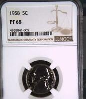 USA 1958 NICKEL PROOF 68 NGC   WOULD YOU PAY $8 225 FOR THIS? I HOPE NOT BUT