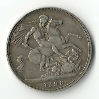 GREAT BRITAIN  UK  1898 LXII VICTORIA CROWN 0.925 SILVER COI