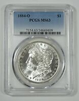 1884-O MORGAN SILVER DOLLAR CERTIFIED PCGS MINT STATE 63