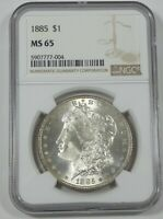 1885 MORGAN DOLLAR CERTIFIED NGC MINT STATE 65 SILVER DOLLAR