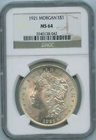 1921 P NGC MINT STATE 64 MORGAN SILVER DOLLAR $1 US MINT 1921-P VAM 10 MINT STATE 64 PQ COIN