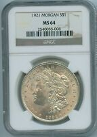 1921 P NGC MINT STATE 64 MORGAN SILVER DOLLAR $1 US MINT 1921-P VAM 3Y MINT STATE 64 PQ COIN