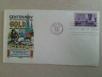US CALIFORNIA GOLD CENTENNIAL 1948  FDC  HAND COLORED  GOLD