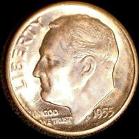 USA 1955 S 10 CENT OLD SILVER COIN NICE CH. BU FROM ORIGINAL ROLL