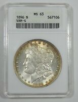 1896 MORGAN DOLLAR CERTIFIED ANACS MINT STATE 63 VAM-4 SILVER DOLLAR  DOUBLED STARS