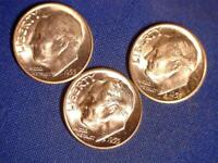 ALL 3 USA 1955 10 CENT SILVER COINS P D & S ALL CH. BU FROM ORIGINAL ROLL