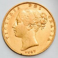 EARLY DATE 1847 QUEEN VICTORIA GOLD SHIELD SOVEREIGN  1838 1