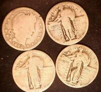 USA  4 WORN OUT OLD SILVER QUARTERS 25 CENT OLD SILVER COINS 1893 1930
