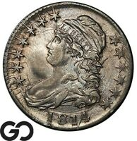 1814 CAPPED BUST HALF DOLLAR NICE AU   TOUGH EARLY DATE