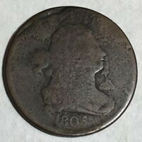 1805 DRAPED BUST COPPER US HALF CENT. GOOD, SOME POROSITY/SURFACE ROUGHNESS MD1