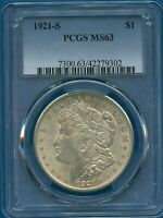 1921 S PCGS MINT STATE 63 MORGAN SILVER DOLLAR $1  DATE 1921-S PCGS MINT STATE 63 PQ COIN
