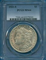 1921 S PCGS MINT STATE 64 MORGAN SILVER DOLLAR $1  DATE US COIN 1921-S PCGS MINT STATE 64