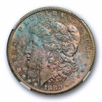 1880 S $1 MORGAN DOLLAR NGC MINT STATE 64 UNCIRCULATED BLUE & PURPLE TONED UNIQUE
