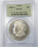 1880-S MORGAN DOLLAR  PCGS MINT STATE 64 PROOF-LIKE SILVER DOLLAR  OLD GREEN HOLDER