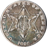 1858 THREE 3 CENT SILVER GREAT DEALS FROM THE EXECUTIVE COIN COMPANY