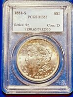1881-S MINT STATE 65 GEM MORGAN SILVER DOLLAR PCGS GRADED CERTIFIED SAN FRANCISCO 1$ COIN