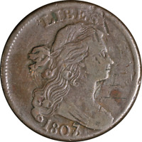 1807/6 LARGE CENT LARGE 1807 POINTED 1  VF DETAILS S.273 R.1 STRONG STRIKE